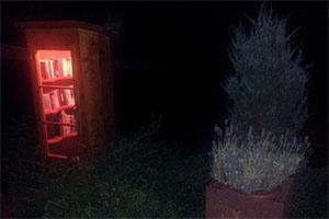 Bücherschrank bei Nacht