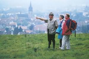 Panorama über Bad Driburg - Wanderer